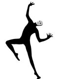 舞蹈演员跳舞屏蔽笑剧执行者 库存照片