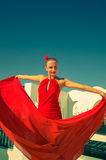 舞蹈演员跳舞风扇佛拉明柯舞曲女孩例证西班牙语 库存图片