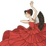 舞蹈演员跳舞风扇佛拉明柯舞曲女孩例证西班牙语 免版税库存照片