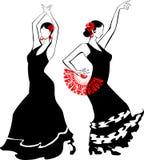 舞蹈演员跳舞风扇佛拉明柯舞曲女孩例证西班牙语 免版税图库摄影