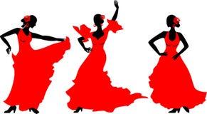 舞蹈演员跳舞风扇佛拉明柯舞曲女孩例证西班牙语 库存照片