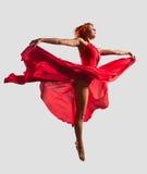 舞蹈演员飞行红色 库存照片