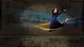 舞蹈演员,一个抽象背景的。 拼贴画 库存图片