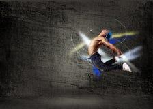 舞蹈演员,一个抽象背景的。 拼贴画 免版税库存照片