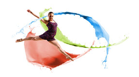 舞蹈演员,一个抽象背景的。 拼贴画 免版税库存图片
