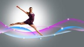 舞蹈演员,一个抽象背景的。 拼贴画 免版税图库摄影