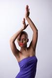 舞蹈的性感的妇女与焕发构成 库存图片