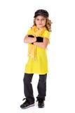 舞蹈:小女孩有坚韧态度的Hip Hop舞蹈家 库存图片