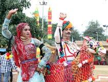 舞蹈rajasthani 免版税库存照片
