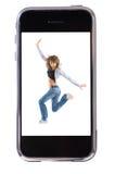 舞蹈smartphone 图库摄影