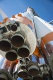 航天器的纪念碑在宇宙航行学博物馆在翼果俄罗斯的 库存照片