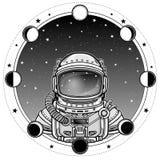 航天服的动画宇航员 背景-夜星天空,月相 库存照片