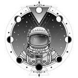 航天服的动画宇航员 背景-夜星天空,月相 免版税图库摄影