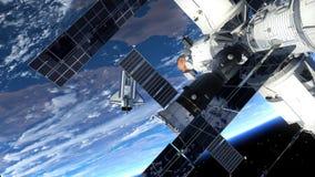 航天飞机和围绕Earth.3D场面旋转的空间站 皇族释放例证