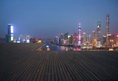 航拍在上海障壁地平线的鸟景色 库存照片