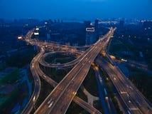 航拍城市高架桥桥梁路鸟眼睛视图  免版税图库摄影