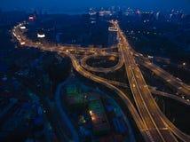 航拍城市高架桥桥梁路鸟眼睛视图  库存照片