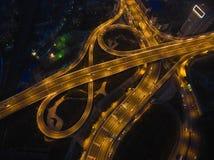 航拍城市高架桥桥梁路鸟眼睛视图  免版税库存图片