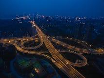 航拍城市高架桥桥梁路鸟眼睛视图  库存图片