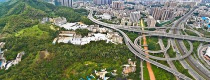 航拍城市高架桥桥梁路lan鸟眼睛视图  免版税库存图片