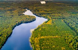 航拍,风景湖视图 免版税库存照片