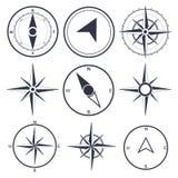 航海和风玫瑰色指南针集合 库存图片