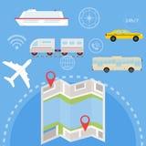 航海套与地点和标签的客运在地图 一套客运 皇族释放例证