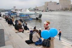 航海季节开头在莫斯科 库存图片