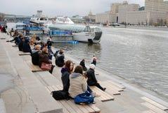 航海季节开头在莫斯科 免版税库存照片
