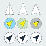 航海箭头平的稀薄的线被设置的象 导航员方向标志的汇集 库存照片