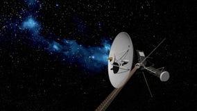 航海者在星背景的空间探索 库存例证