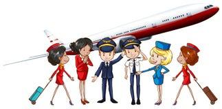 航空公司乘员组和喷气机 库存例证