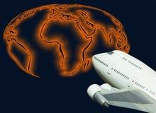 航空公司全球喷气机映射旅行世界 免版税库存图片