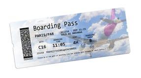 航空公司在白色的登舱牌票与t的空间 免版税库存照片