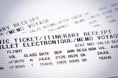 航空公司飞行票 库存图片
