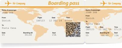 航空公司登舱牌票的传染媒介图象 库存照片