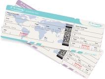 航空公司登舱牌票的传染媒介图象 库存图片