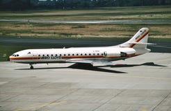 航空劳埃德Sud SE-210 Caravelle 10R D-ABAK CN 232在杜塞尔多夫莱茵鲁尔,德国到达 免版税库存照片