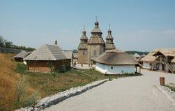 航空哥萨克博物馆开放乌克兰村庄 免版税库存图片