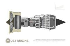 航空器喷气机引擎  一部分的飞机 侧视图 Aerospase工业图画 库存照片