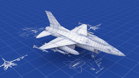 航空器图纸喷气式歼击机 向量例证
