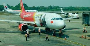 航空器在缅甸的仰光机场 库存图片