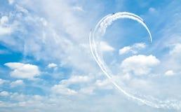航空器显示背景,在天空的抽象图画 免版税库存照片