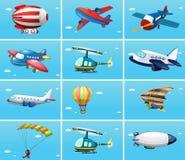 航空器的不同的类型 库存例证