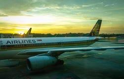 航空器相接在日落的机场 库存图片