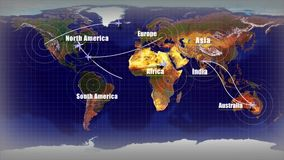 航空器飞行的动画到大陆的不同的部分 库存例证