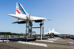 航空器Concorder在Sinsheim博物馆 免版税库存照片