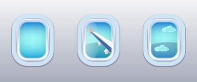 航空器Windows,飞机窗口 免版税库存照片