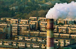航空块污染residental烟 库存照片