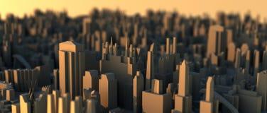 航空城市微型scape射击日落 库存例证